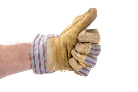 Worker Wearing Leather Work Glove Giving the Thumbs Up Sign Stock Photo - 6471524