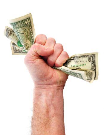 squeezed: Pu�o Holding Dollar Bills aislados en blanco Foto de archivo