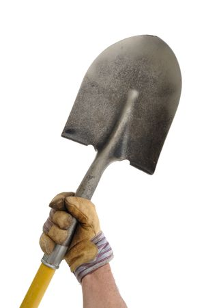 spade: Gardener Holding a Shovel Isolated On White Stock Photo