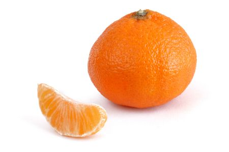 Clementine Tangerine and Single Section Isolated on a White Background