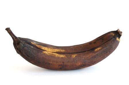 rotten: A Rotten Banana Isolated on a White Background Stock Photo