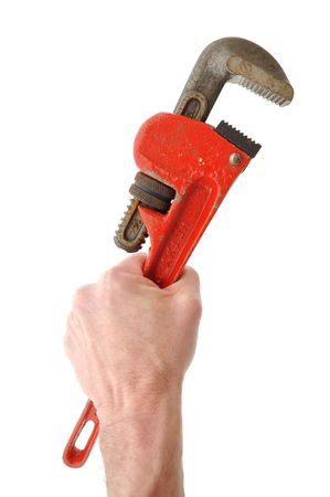 Holding Pipe Wrench in Hand Isolated on White Stock Photo - 6471533