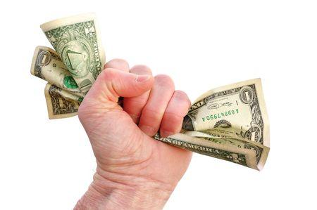 Fist Holding Dollar Bills Isolated on White photo