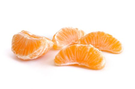 Clementine Tangerine Sections Isolated on a White Background