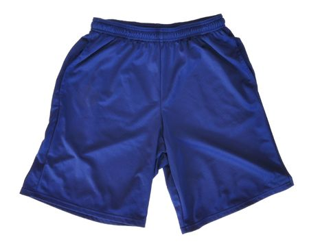 Blue Polyester Athletic Shorts Isolated on a White Background