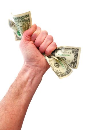 白で隔離されるドル札を保持している拳
