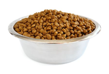 kibble: Dry Dog Food in a Stainless Steel Bowl Isolated on White