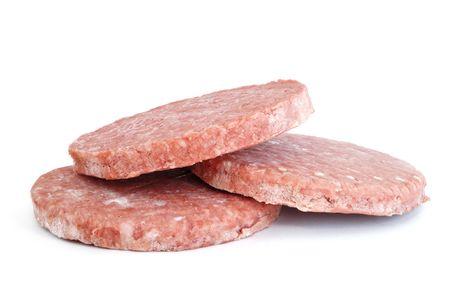 3 冷凍ハンバーガーパティ 【 無添加白い背景で隔離 写真素材