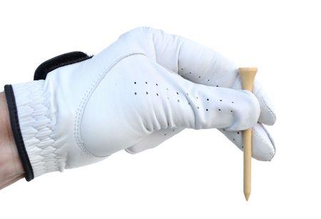 grasp: Golfer Wearing Golf Glove Holding a Golf Tee