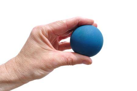 racquetball: Player Holding Racquetball de caucho azul aislada en blanco