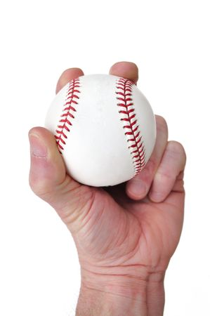 Player Gripping a New Baseball Isolated on White
