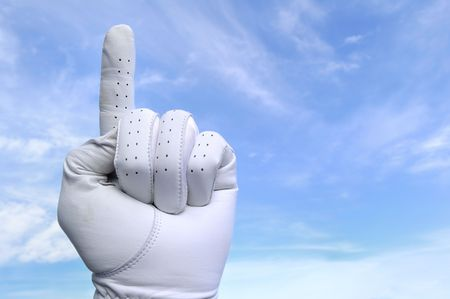 Golfer with Golf Glove Doing Number One Sign Stock Photo - 6735294