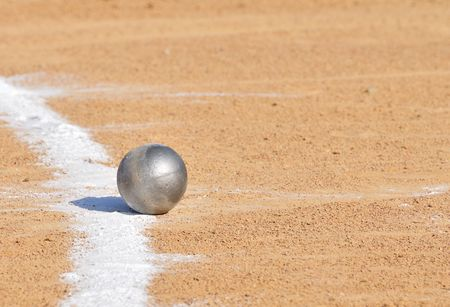 shot: Shot Put by Chalk Line on Dirt