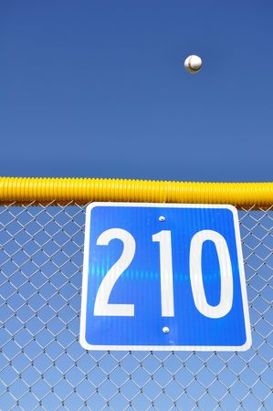 outfield: Baseball Flying Over the Fence For a Home Run