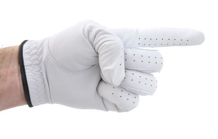 forefinger: Golfer Wearing a White Glove Pointing to the Right
