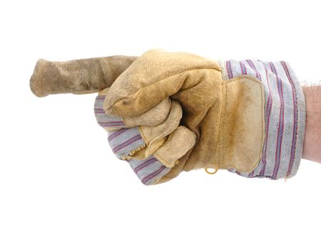 Worker Wearing Leather Work Glove Pointing to the Left Banco de Imagens