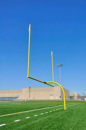Yellow Goal Posts on American Football Field Stock Photo - 7034869