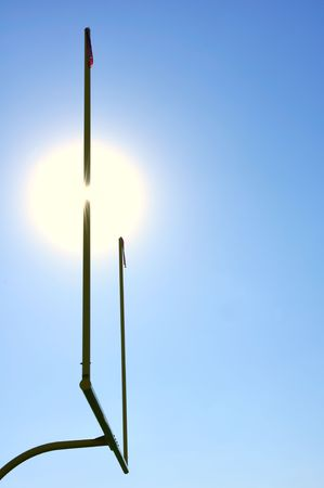 Sun Behind Goal Posts on American Football Field Stock Photo - 7034888