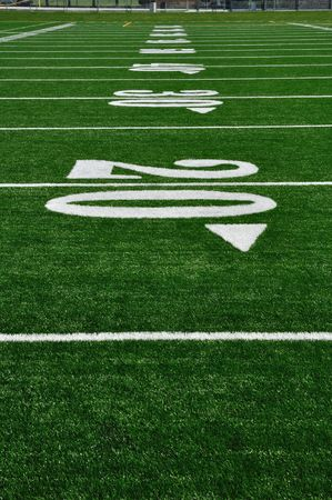 20 Yard Line on American Football Field, Copy Space, vertical Stock Photo - 7067669