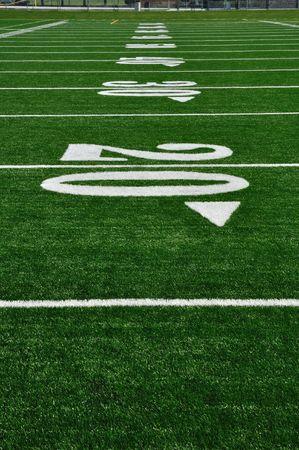 20 Yard Line on American Football Field, Copy Space, vertical Banco de Imagens
