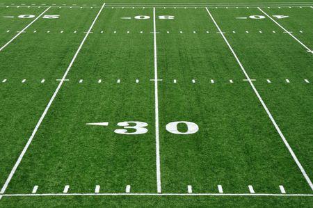 Thirty Yard Line on American Football Field Banco de Imagens