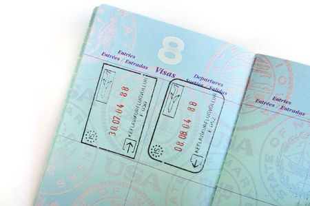Close Up of Iceland Visa Stamps in American Passport