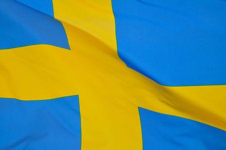スウェーデンの旗のクローズ アップ 写真素材