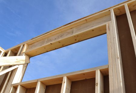 Framed Wall and Window of House at Construction Site Stock Photo - 7141894