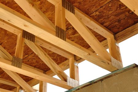 Trusses Above Basement of House at Construction Site Stock Photo - 7154749