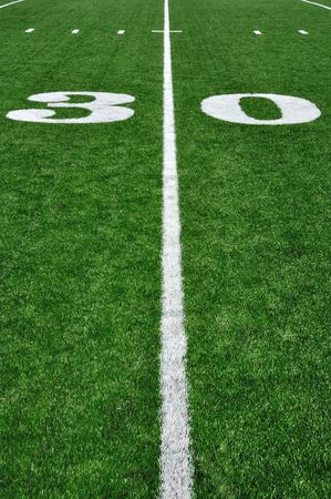 30 Yard Line on American Football Field and Hash Marks photo
