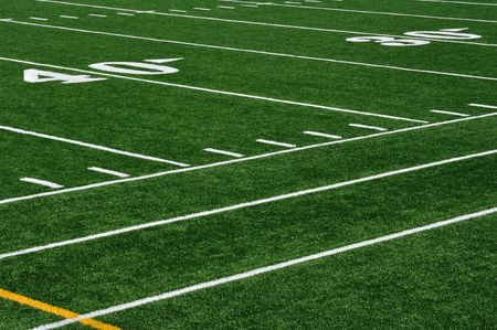 yardline: Forty Yard Line on American Football Field and Sideline Stock Photo