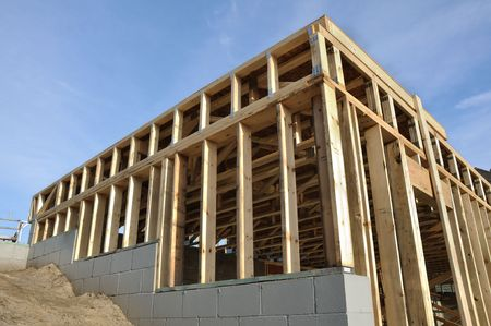 View of Framed Walkout Basement Walls at New Construction Site Stock Photo - 7154765