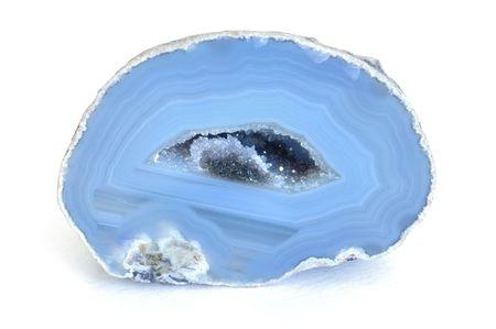ブルー瑪瑙 Geode 内部結晶とカット 写真素材