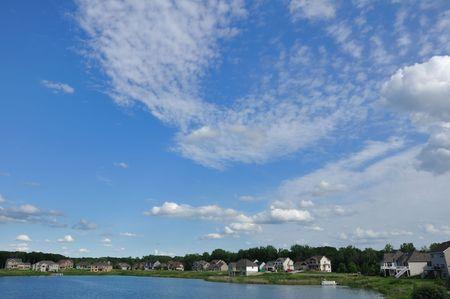 Suburban Executive Homes on Lake, real estate, copy space Stock Photo - 7169423