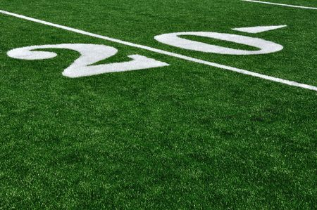yardline: Twenty Yard Line on American Football Field