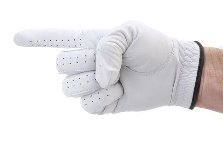 左を指す白い手袋を着用のゴルファー