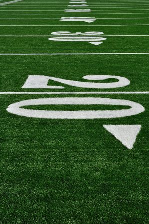 yardline: 20 Yard Line on American Football Field, Copy Space, vertical Stock Photo
