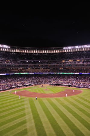 baseball stadium: MINNEAPOLIS, MN - JUNE 15: View of Target Field at night during a Major League Baseball game between the Colorado Rockies and the Minnesota Twins on June 15, 2010 in Minneapolis, MN