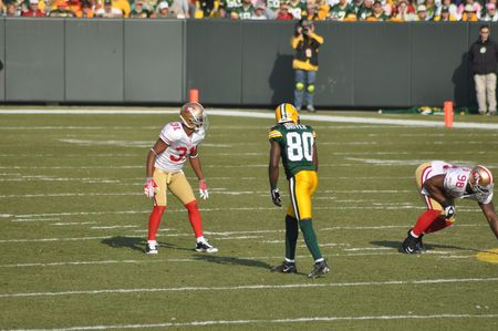 GREEN BAY, WI - NOVEMBER 22 : Green Bay Packers receiver Donald Driver lines up for a play in a game at Lambeau Field against the San Francisco 49ers on November 22, 2009 in Green Bay, WI