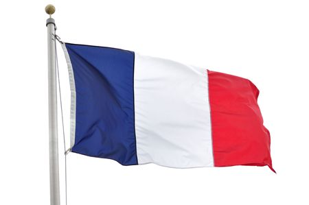 flagpoles: The Flag of France Isolated on a White Background