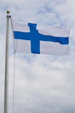 The Flag of Finland Waving in the Breeze Фото со стока