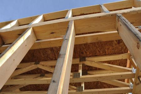 View of Framed Basement Walls at New Construction Site Stock Photo - 7301058