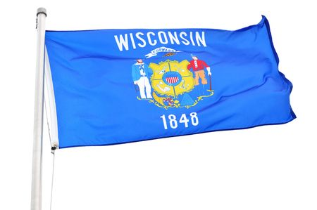 wisconsin state: Wisconsin State Flag Isolated on a White Background