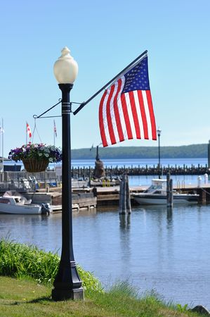 lampposts: American Flag on Lamppost in Bayfield, Wisconsin