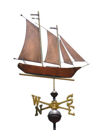 schooner: Sailboat (Schooner) Weather Vane Isolated on White