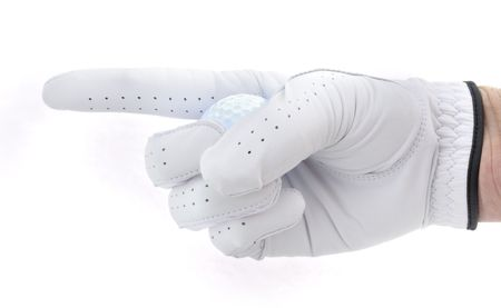 golf glove: Golfer Holding a Golf Ball Pointing to the Left