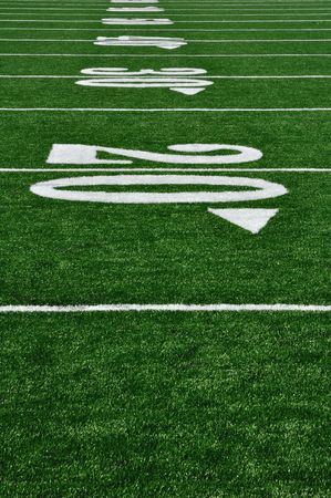 20 Yard Line on American Football Field, Copy Space, vertical Stock Photo - 7443745