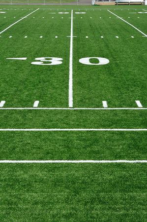 30 Yard Line on American Football Field and Sideline Stock Photo - 7510682