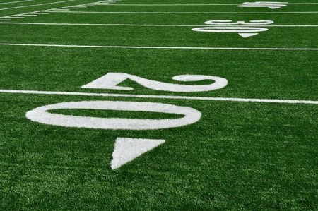 20 Yard Line on American Football Field, Copy Space Stock Photo - 7542543