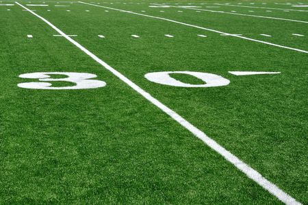 yardline: 30 Yard Line on American Football Field with Hash Marks